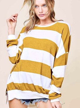 Chilly Nights Mustard and White Striped Sweater