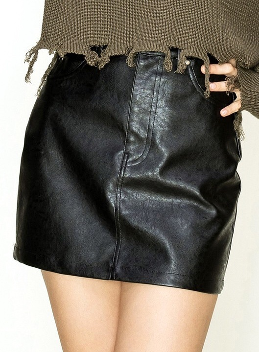 Black Fitted Leather Skirt