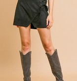 Black Suede High Waist Lace Up Skirt