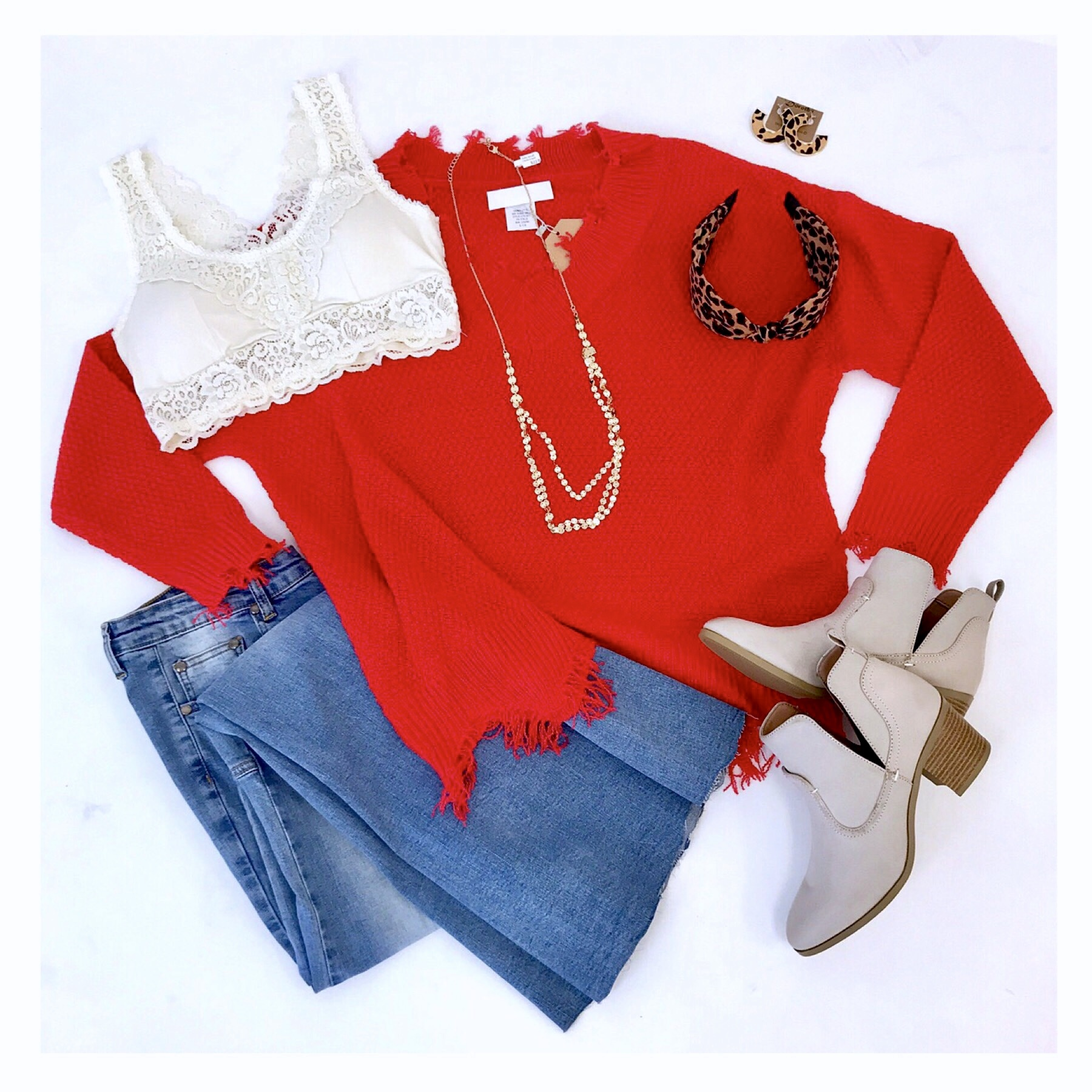 Bright Red Distressed V-Neck Sweater