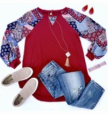 Red Contrast Balloon Sleeve Top