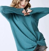 Double Rib LS V-Neck Top with Twisted Front Hunter Green