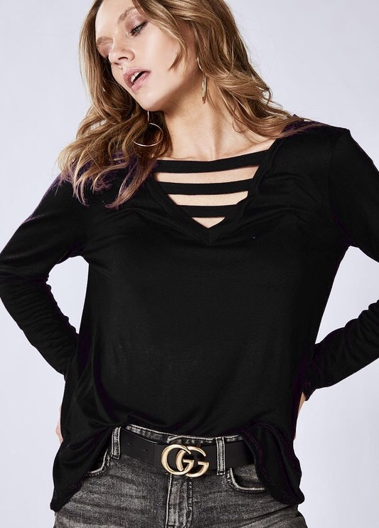Black Front Caged LS Top