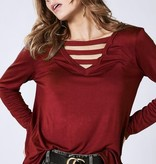 Burgundy Front Caged LS Top