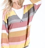 Marsala/Mustard Color Block LS Sweater