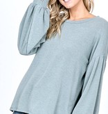 Dusty Olive High Low Puffy LS Top