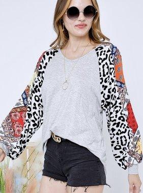 Grey Leopard/Floral Mix Balloon Sleeve Top