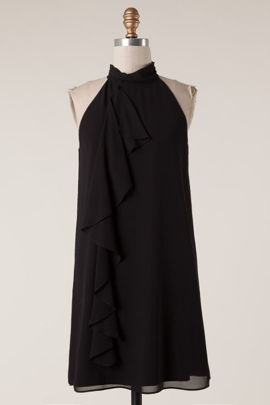 Black Halter Top Dress with Ruffle Detail