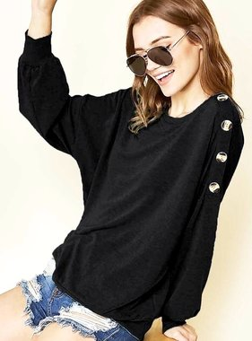 Button Shoulder Sweater Black