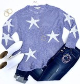 Lilac Star Print Sweater