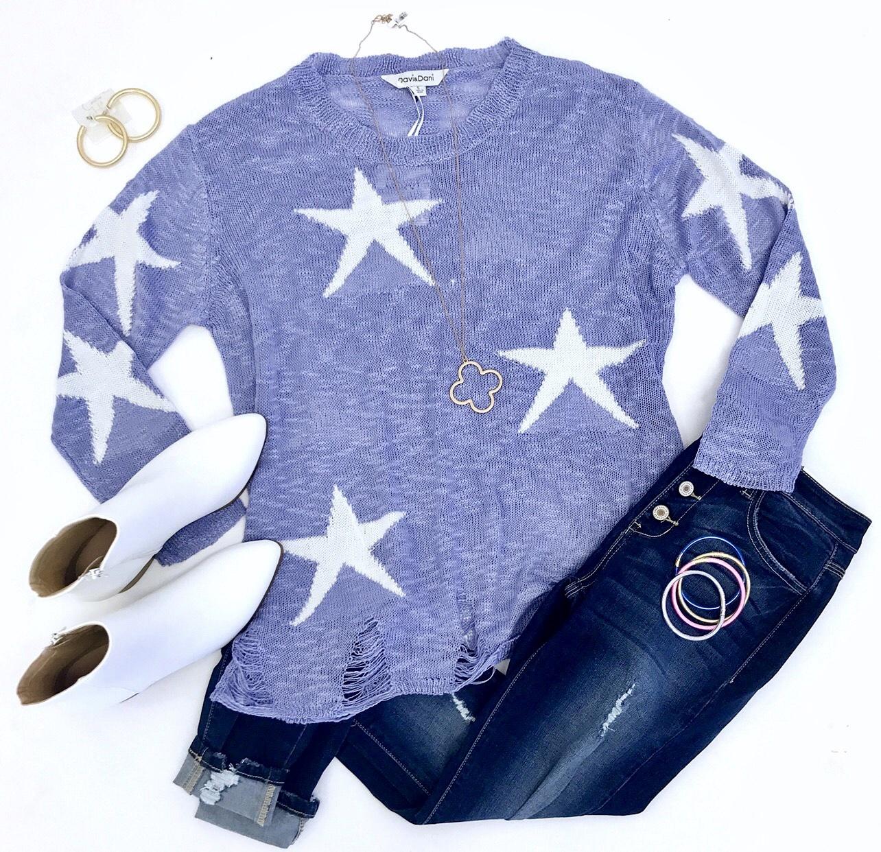Lilac Star Print Sweater