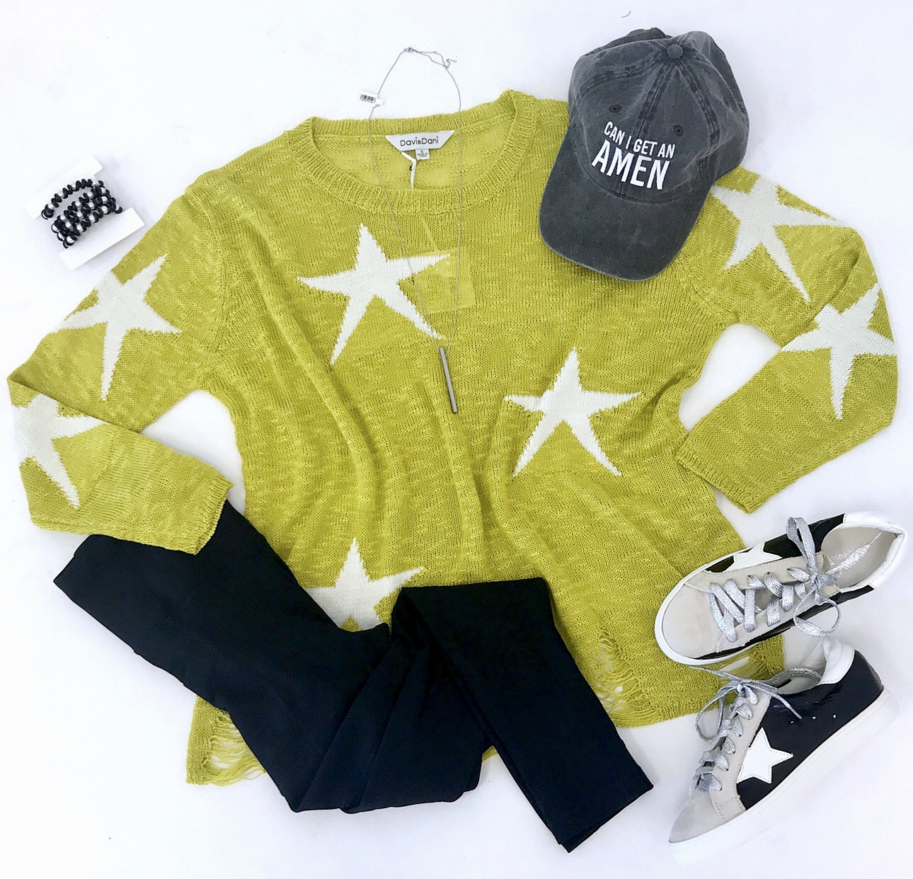 Lime Star Print Sweater