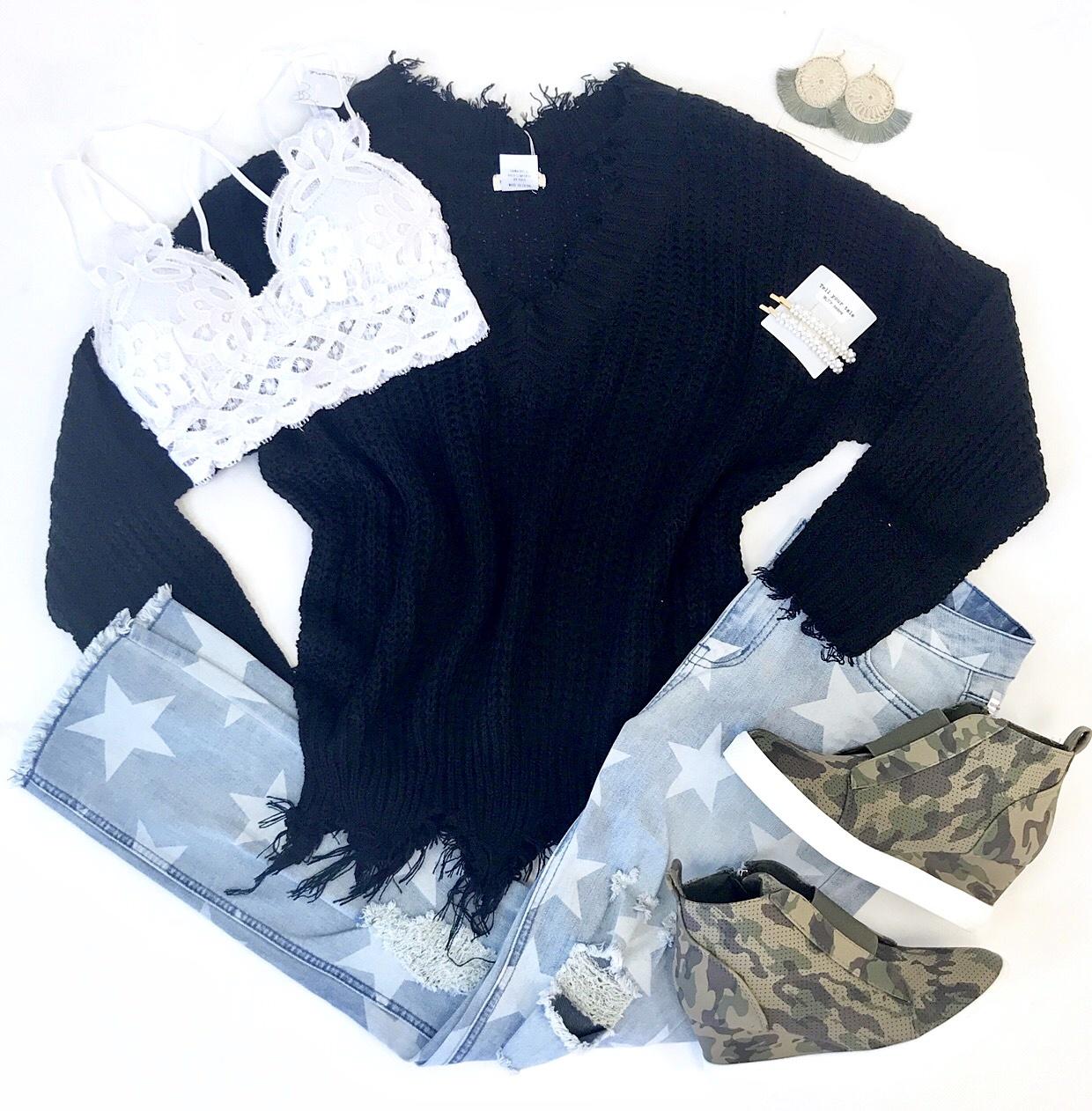 Black Distressed V-Neck Sweater