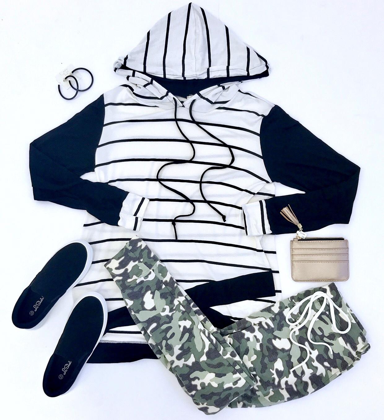 Black Hooded Crossed Hem Sweatshirt