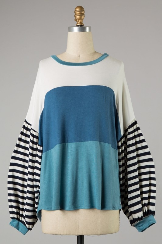 Blue Color Block Top with Balloon Sleeve