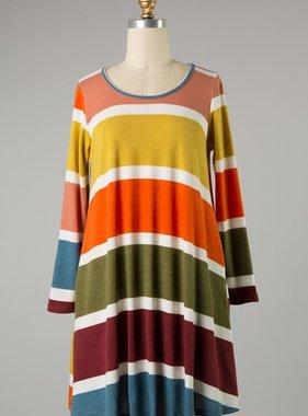 Mustard/Olive Striped LS Dress