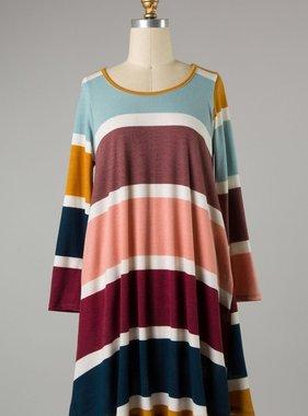 Navy/Burgundy Striped LS Dress