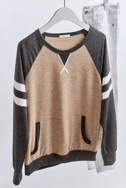 Mocha/Charcoal LS Baseball Sweater with Pocket
