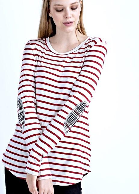 Burgundy LS Striped Top W/ Elbow Patch