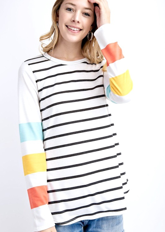 Sunny Day Colorful Striped LS Top