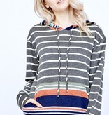 Grey/Cream Striped Hoodie W/ Colorful Pocket