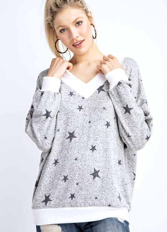 Two-Tone Star Print Sweater
