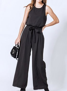 Black V-Cut Tie Jumpsuit