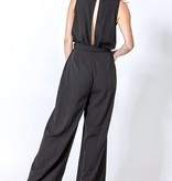 Black V-Cut Tie Jumpsuit