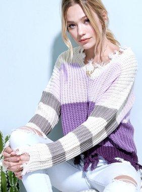 Lavender Color Block Distressed Sweater