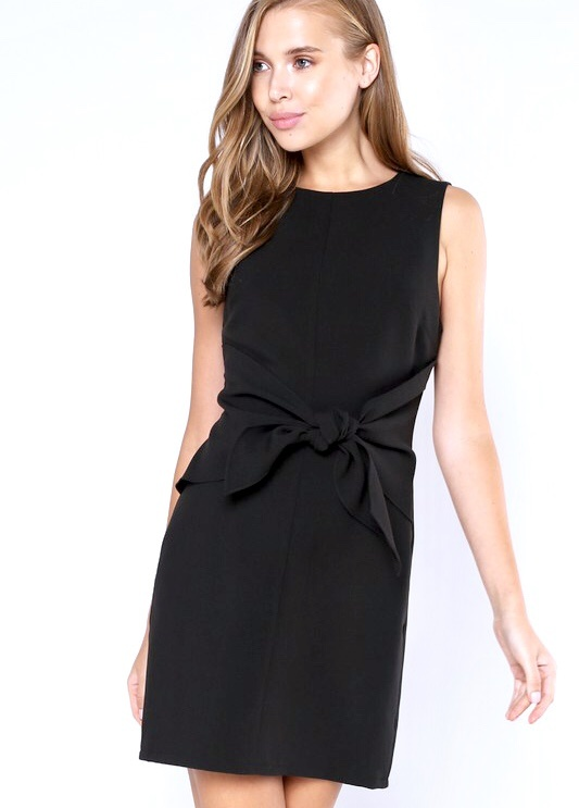 Black Sleeveless Self Knotted Dress