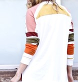 Olive/Burgundy V-Neck LS Sweater