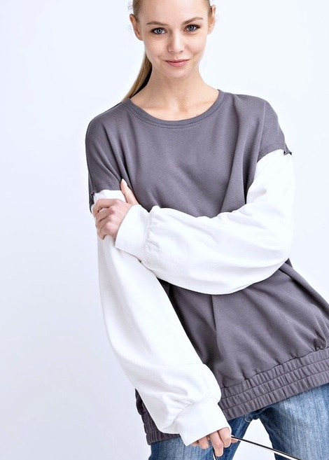Grey Banded Bottom White Sleeve Top