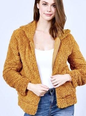 Fur Zip Hood Jacket Mustard