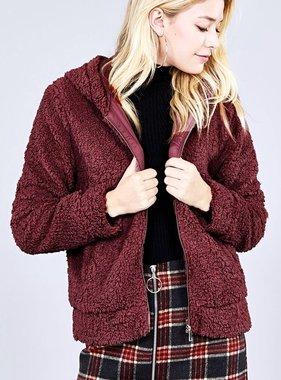 Fur Zip Hood Jacket Burgundy
