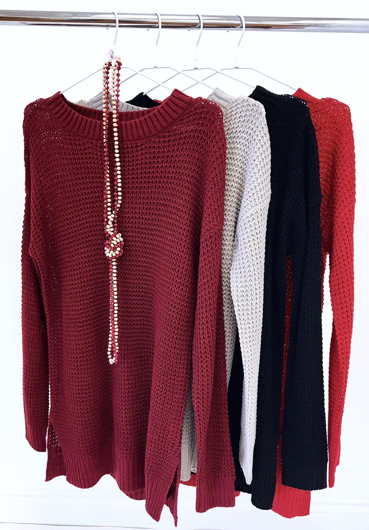 Black Waffle Knit Sweater Top