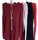 Burgundy Waffle Knit Sweater Top