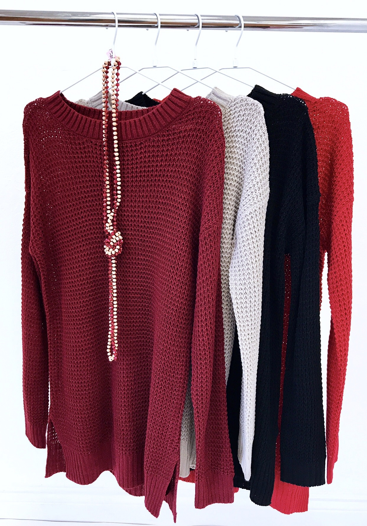 Red Waffle Knit Sweater Top