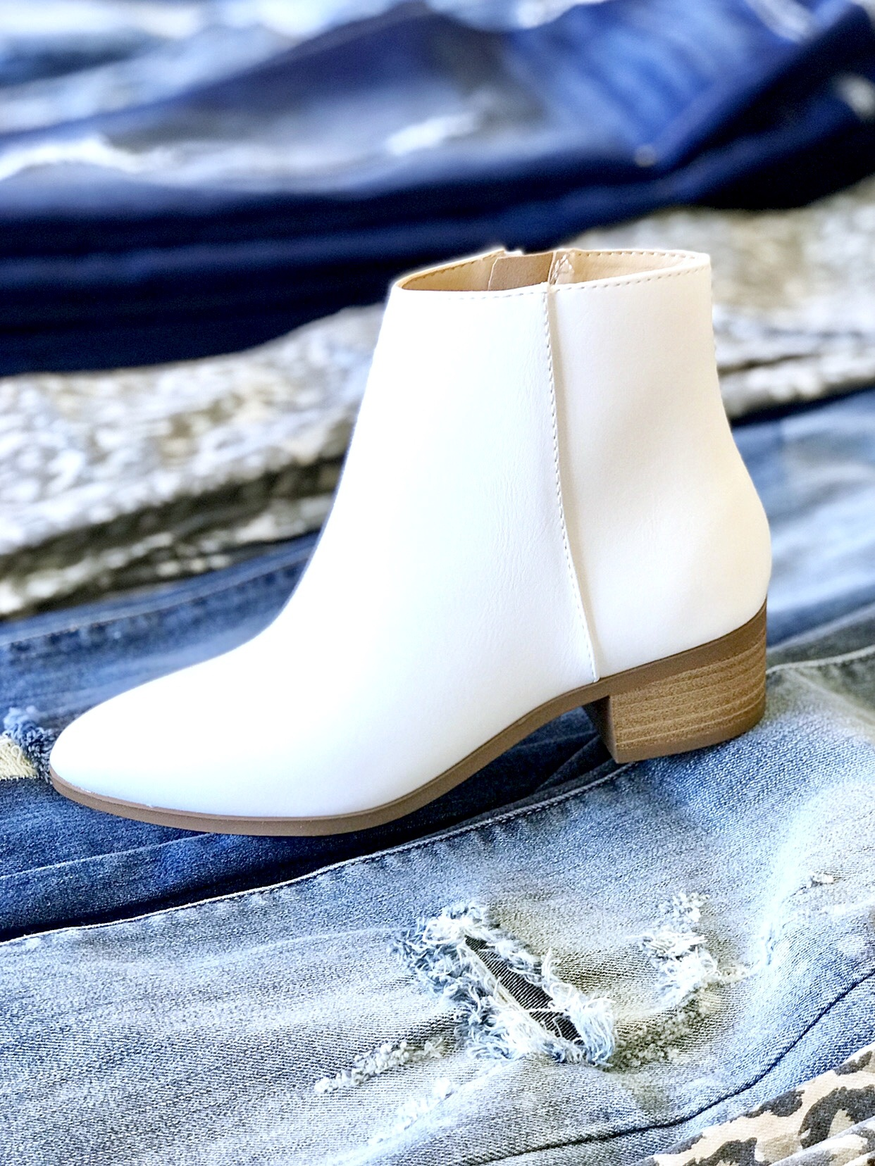Coco White Ankle Bootie