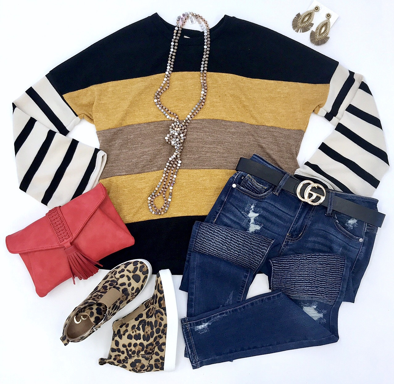 Mustard/Mocha LS Striped Top