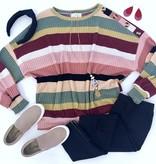Burgundy Mix Striped LS Sweater