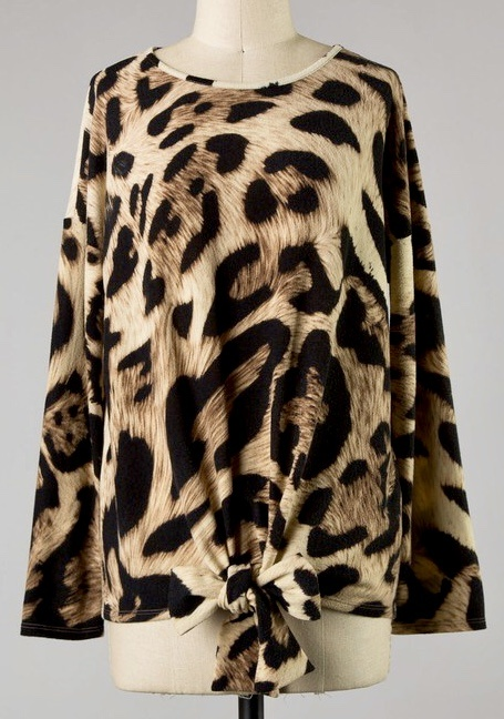 Taupe Leopard Print Tie Top