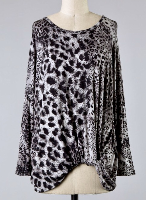 Taupe Gray Leopard Twist Top