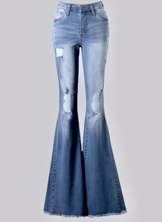 Distressed Light Wash Bell Bottoms