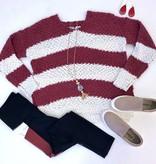 Burgundy Striped Popcorn Sweater