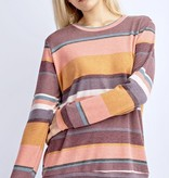 Dusty Coral/Wine Striped LS Top