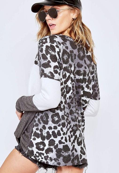 Grey Leopard Color Block Top