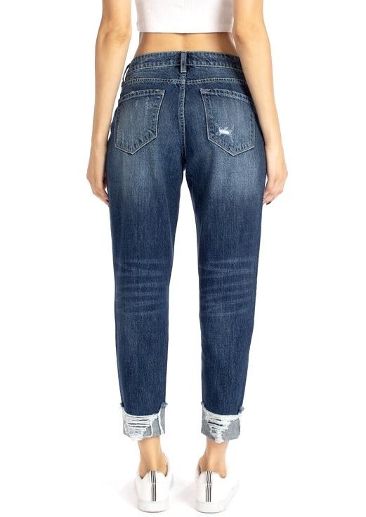 Dark Cuffed Mom Jeans