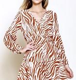 Bronze Zebra Wrap Dress