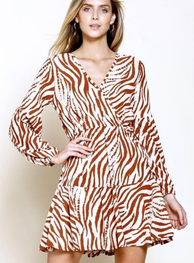 Bronze Zebra Wrap Dress