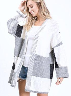 White/Grey Checkered Cardigan